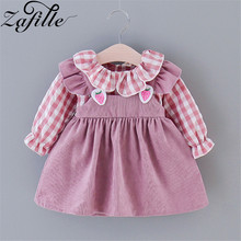 ZAFILLE Cute Baby Girl Clothes Long Sleeve Princess Summer Dress For Girl Plaid Patchwork Toddler Kids Clothes Girls Clothing