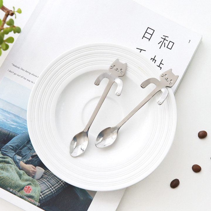 1 Piece Cute Cat Spoon Long Handle Spoons Flatware Drinking Tools Kitchen Gadget Flatware Tableware Coffee Scoop