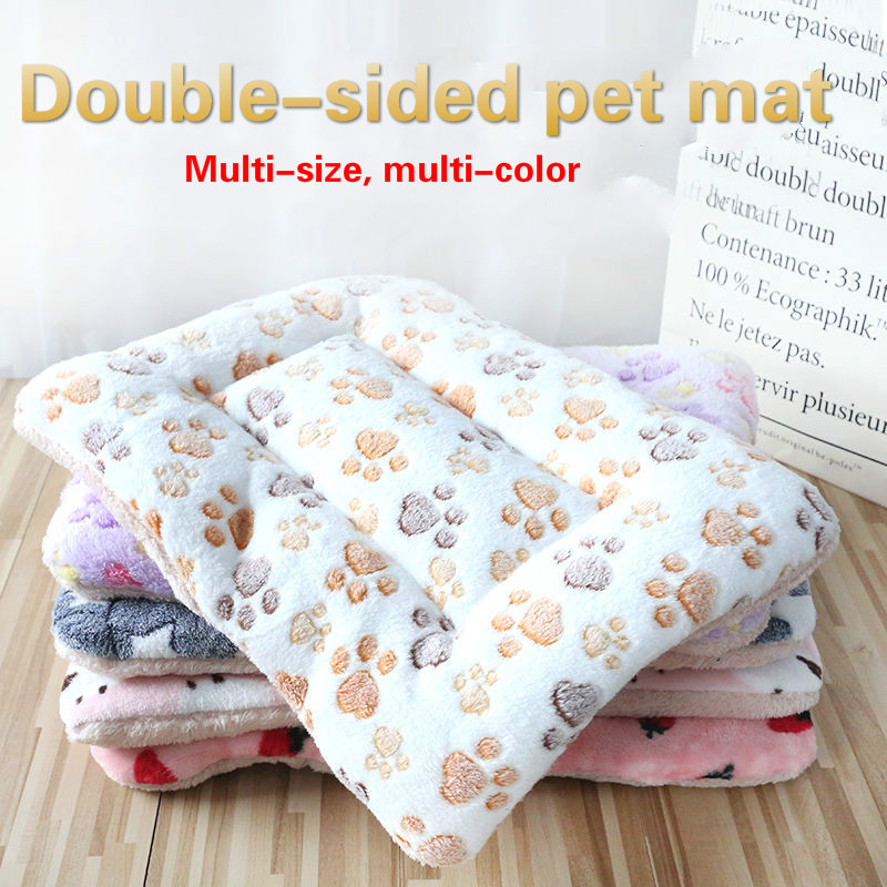 Tapis pour chiens lits pour chiens, couvertures épaisses pour animaux de compagnie en hiver, chenils de dessin animé pour animaux de compagnie, tapis de couchage chauds pour chiens avec courtepointes en coton