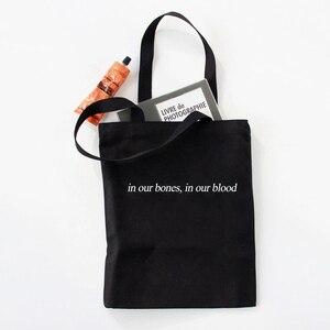 Kpop Женская холщовая сумка-шоппер с буквенным принтом, Женская хлопковая тканевая сумка-тоут в стиле Харадзюку, многоразовые Наплечные сумки с милым принтом