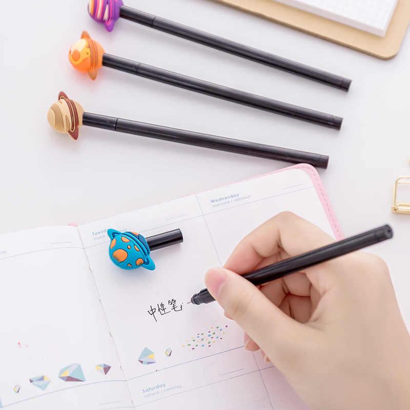 Koreańskie piśmiennicze śliczne kreatywne kolorowe planety pióro neutralne nauka biuro 0.5mm czarny długopis podpis pióra szkolne