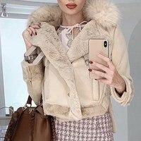 Vintage Suede Leather Jacket Short Jackets Women Warm Lamb Wool Thick Fur Lambs Coat Motorcycle Loose Outwear