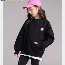 LINLING Unisex Kids Sweatshirts Cool Hoodies for Boys Girls Hoodie Cotton Fashion Black