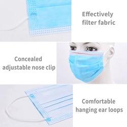 50 sztuk Maska ochronna na twarz filtr dla dorosłych Anti Virus Maska ochronna włóknina 3 Laye zanieczyszczenia pyłu jednorazowe maski 4