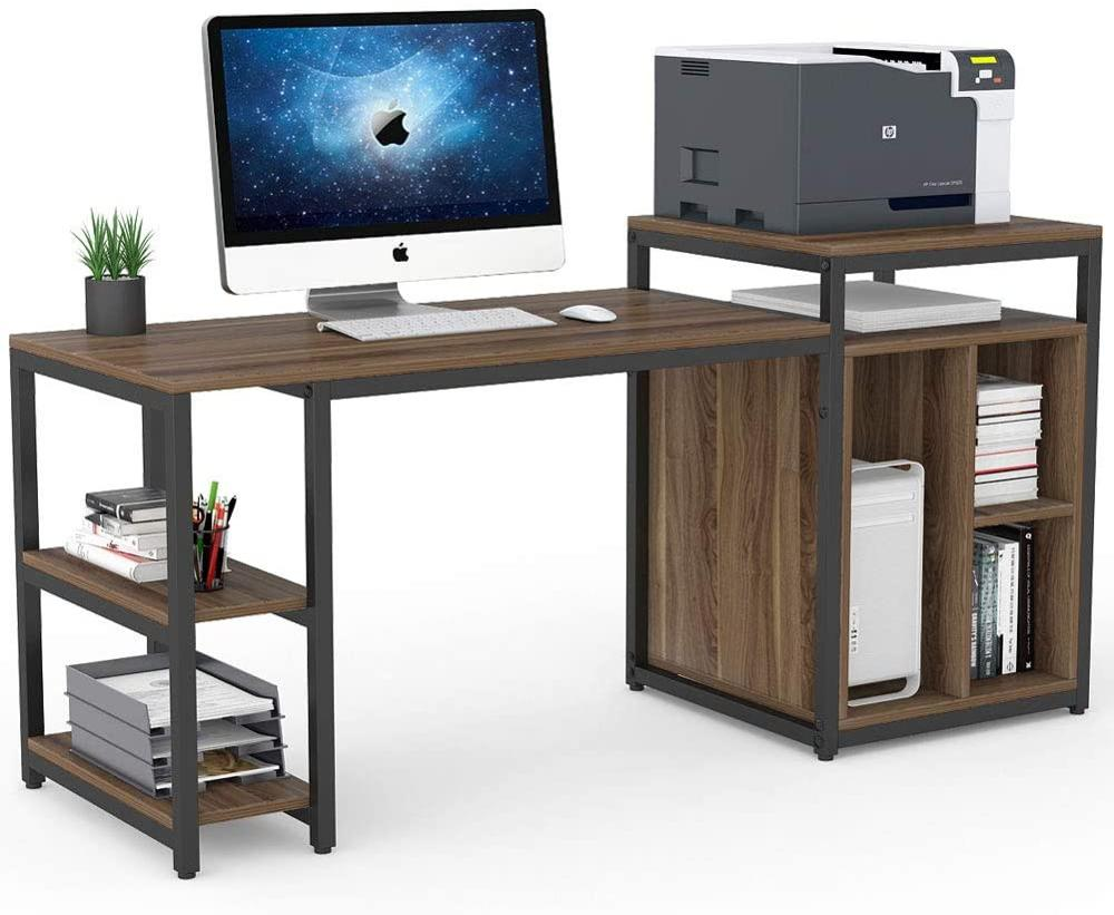 Desk & Storage Shelf Computer Desk With Printer Stand For Home Office