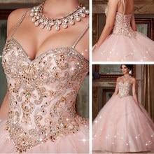 Custom Made Nieuwe Quinceanera Jurk 2021 Nieuwe Roze Crystal Baljurk Jurken Voor 15 16 Jaar Prom Party Dress