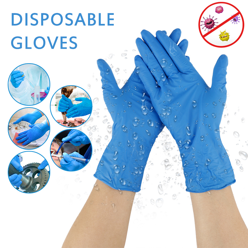 20PCS Blue Disposable Nitrile Latex Gloves Super Flexible Dishwashing/Kitchen/Garden Gloves Household Cleaning Latex Gloves