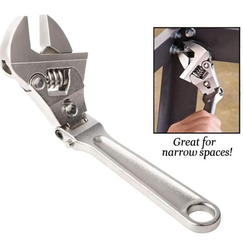 ZUQIEE 8 Inch Adjustable Ratchet Wrench Folding Handle Dual-Purpose Pipe Wrench Spanner Key Hand Tool Wrenches