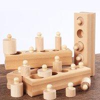 Soquete cilindro quebra-cabeça sensorial ajuda de ensino 2-3-4 anos de idade crianças educação precoce brinquedos para crianças de madeira