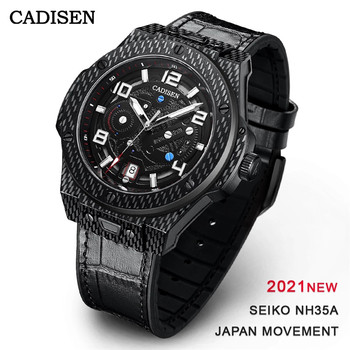 CADISEN New Mechanical Watch Men Sports 100M Waterproof  Luxury Brand Japan NH35A Carbon Cellulosic Automatic Watch Reloj Hombre 2