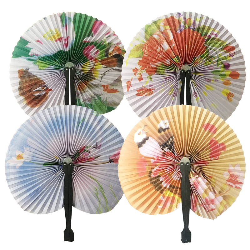 Chic Female Handheld Fan Chinese Pocket Folding Hand Fan Round Circle Printed Paper Decorative Fan Party Decor Gift