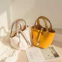 Womens Woven Bucket Bag Basket Messenger Shoulder Mini Drawstring  Crossbody Tote High Quality PU Leather Composite handbag
