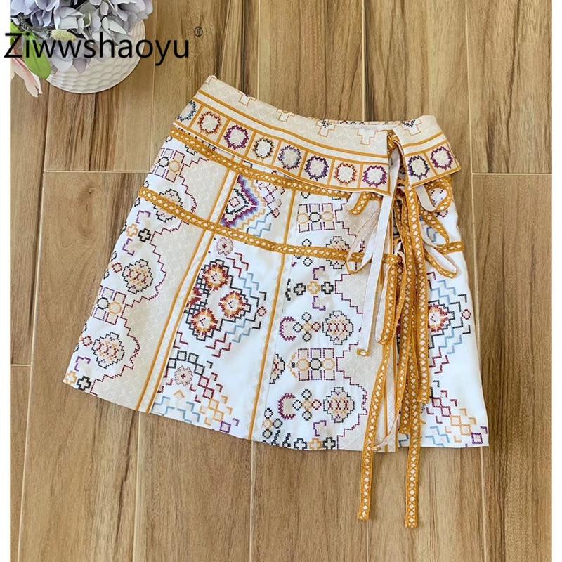 Ziwwshaoyu Designer Brand Summer Cross Embroidery Lace Up A-Line Cotton Linen A-Line High Waist Mini Skirt Women's Fashion