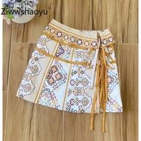 Ziwwshaoyu Designer Brand Summer Cross Embroidery Lace up A Line Cotton Linen A Line High Waist Mini Skirt Women's Fashion