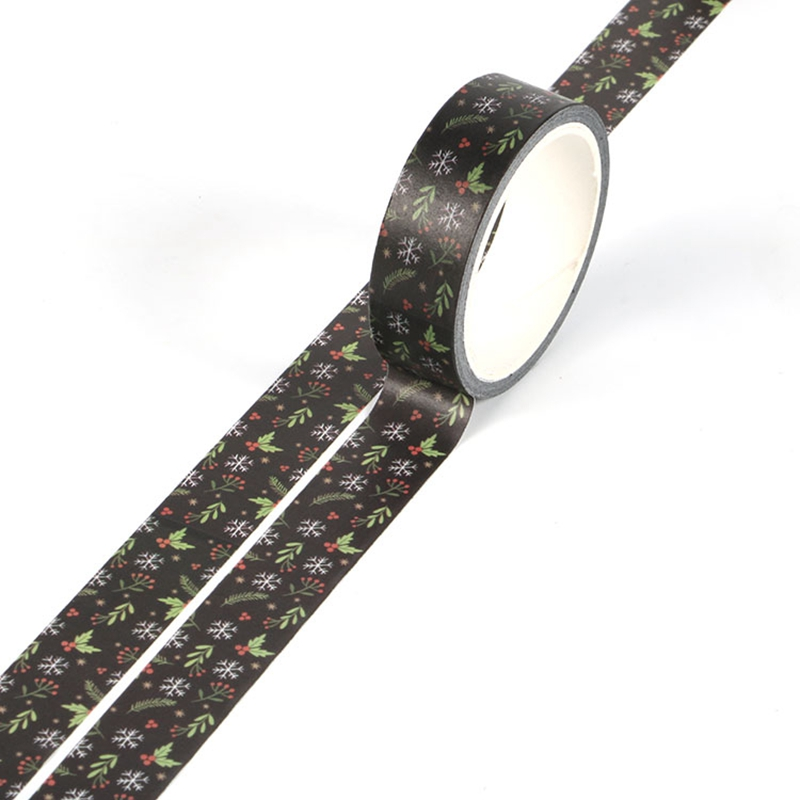 NEW 1X Cute Black Flowers Christmas Print Washi Tape For DIY Planner Scrapbooking Decorative Masking Tape School Office Supplies