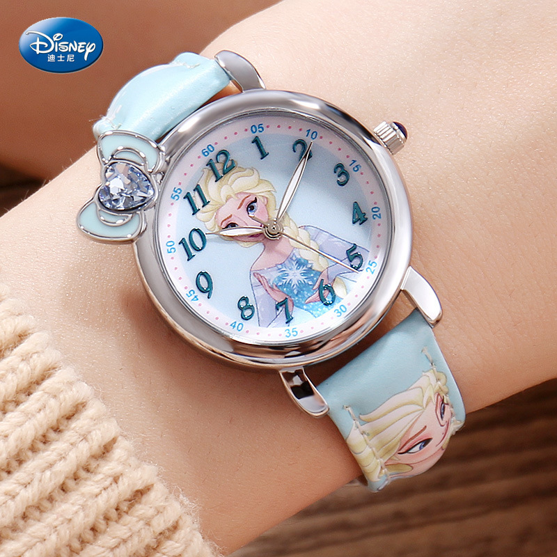 Disney Frozen Children's Wristwatch Waterproof Quartz Watch Gift Package Children Gifts Leather Alloy Simple Glass