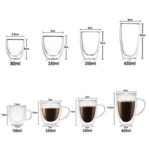 Image 5 - مقاومة للحرارة جدار مزدوج الزجاج القهوة/أكواب شاي وأكواب السفر مزدوجة أكواب القهوة مع مقبض أكواب شرب كاسات صغيرة