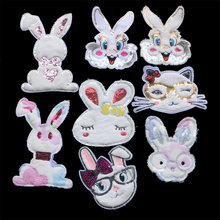 Мультяшная цветная фланелевая нашивка с кроликом и блестками