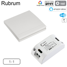 مفتاح واي فاي من Rubrum تردد 433 ميجاهرتز 10A/2200 واط مؤقت لاسلكي بمفتاح دفع 86 لوحة مفاتيح تشغيل/إيقاف لtuya Google Home مصباح أمازون أليكسا
