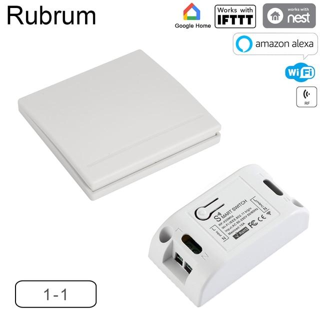 Rubrum WiFi 스위치 RF 433MHz 10A/2200W 타이머 무선 푸시 스위치 86 Tuya Google 홈 용 ON/Off 스위치 패널 Amazon Alexa Light