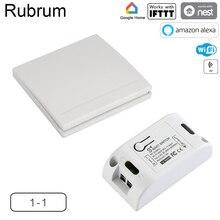 Rubrum WiFi מתג RF 433MHz 10A/2200W טיימר אלחוטי לדחוף מתג 86 על/כיבוי לוח עבור Tuya Google בית אמזון Alexa אור
