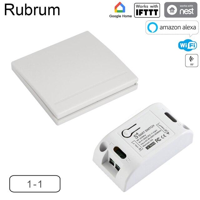 Rubrum WiFi Switch RF 433MHz 10A/2200W Timer Wireless Push Switch 86 ON/Off Switch Panel For Tuya Google Home Amazon Alexa Light