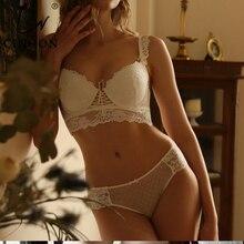 CINOON yeni kadın iç çamaşırı seti seksi Push up sütyen ve külot setleri içi boş sütyen toplamak seksi sutyen nakış dantel iç çamaşırı seti