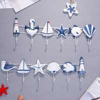 Mediterranean Style Wood Decoration Hook Shell Starfish Nautical Decor Wooden Marine Pendant Beach Sign Brand Plaques Crafts