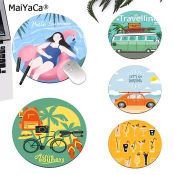 Maiyaca Vintage Cool Hello Summer Day Go Surfing Vacation car round mouse Pad to Game gaming Mousepad Rug For PC Laptop Notebook image
