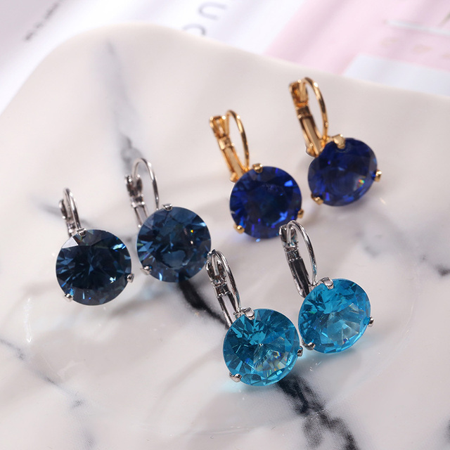 14MM Korean Earrings Simple AAA Cubic Zirconia Fashion Jewelry Copper Plated Gold Temperament Stud Earring For Women