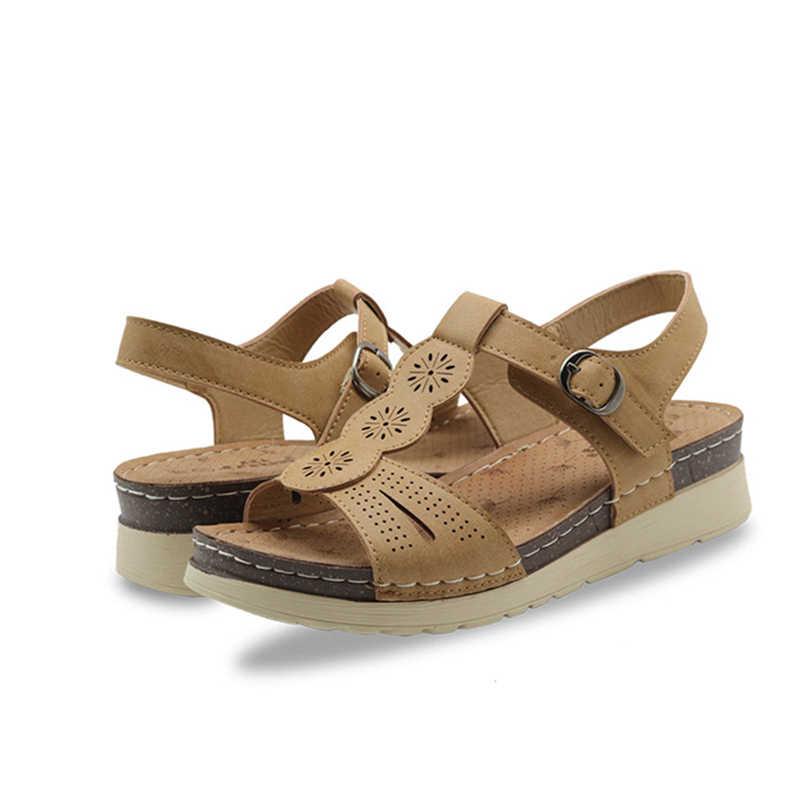 MCCKLE damskie sandały PU szycie dorywczo kobieta kliny komfort panie klamra z wystającym palcem klasyczne drążą letnie kobiece buty na plażę