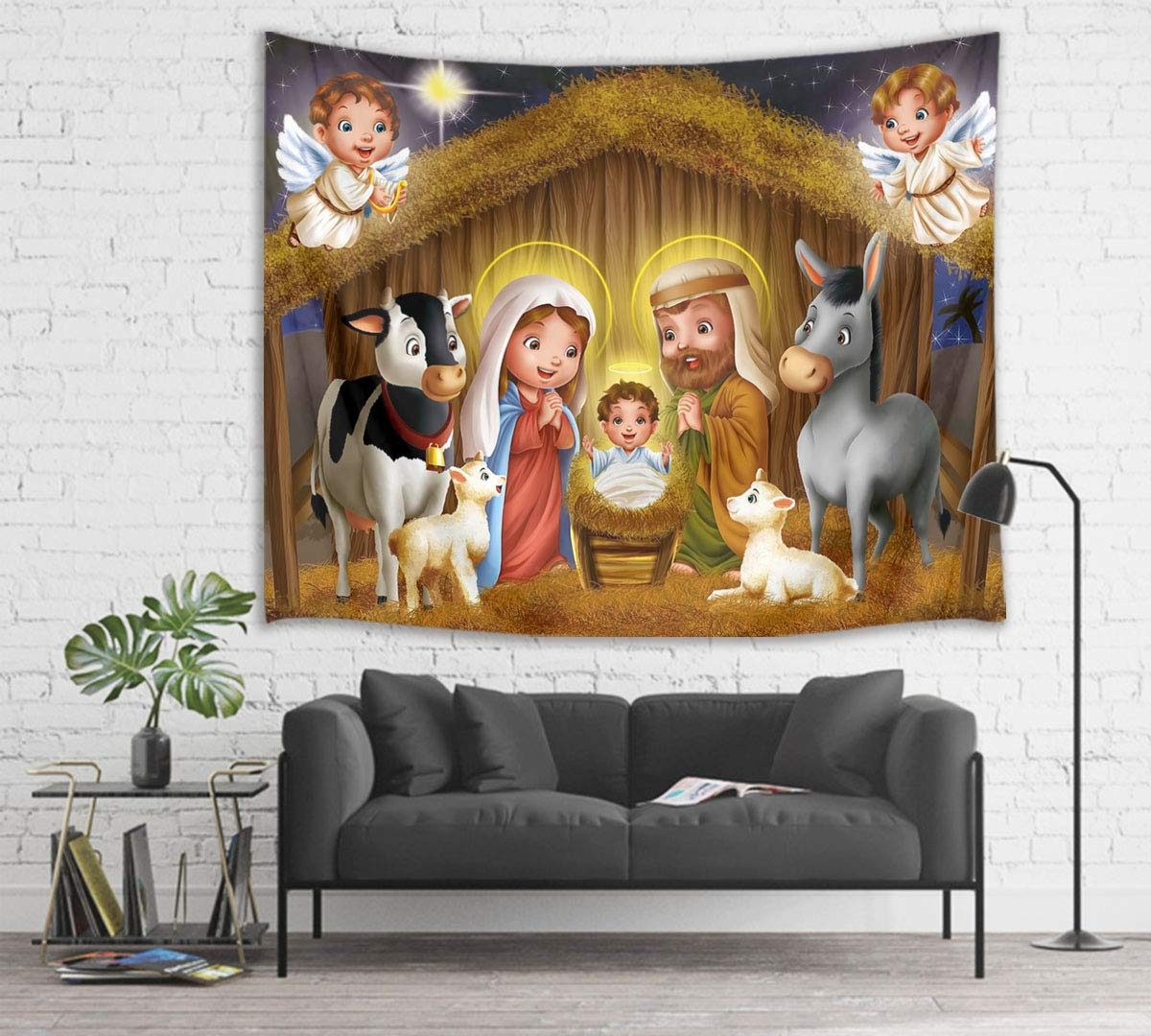 Jesus Christ Birth At Manger Wall Hanging Christian And Angel Tapestries