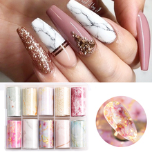 Nail-Foil-Stickers-Kit Wraps Transfer-Decals Nail-Art-Decorations Flower Marble-Series
