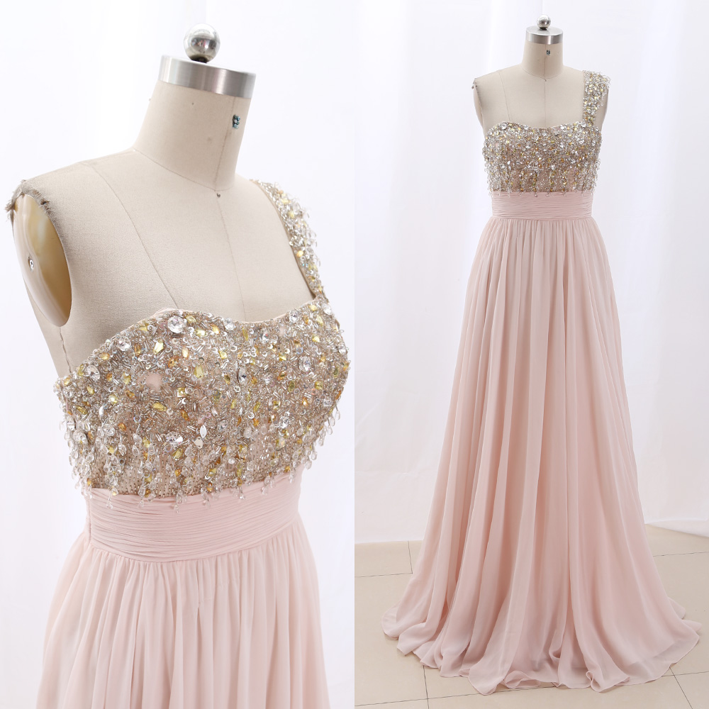 MACloth Light Pink Sweep Train One Shoulder Floor-Length Long Crystal Tulle   Prom     Dresses     Dress   M 267129 Clearance