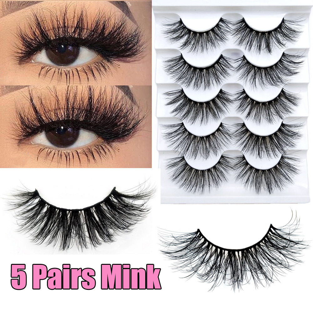 SKONHED 5 Pairs 6D Mink Handmade Natural Long False Eyelashes Fluffy Full Strips Wispies Lashes Extension Eye Makeup Tools