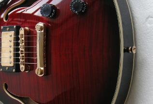 China Guitar Factory Custom New Hollow Body Electric Guitar Red Color Jazz Guitar Gold Hardware Free Shipping 8yue9335