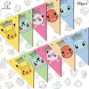 Image 3 - Canudos do pokemon go, suprimentos para festa, canudos de decoração biodegradável, de palha, tubo, caixa de bolo, bandeiras