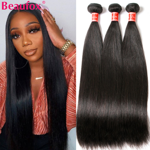 Beaufox Peruvian Hair Bundles Straight Human Hair Weave Bundles Remy Hair Extension Natural/Jet Black 1/3/4 Pcs 8-30 Inches