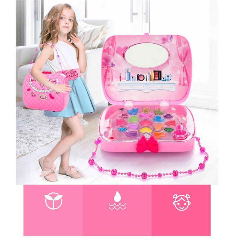 Baby Girls Make Up Set Toys Pretend Play Cosmetic Bag Beauty Hair Salon Toy Makeup Tools Kit Children Pretend Play Toys