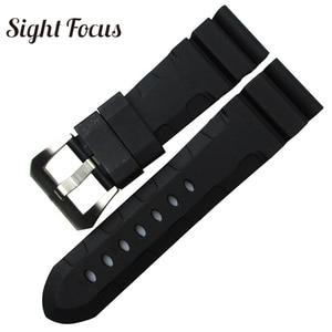 Image 3 - 24mm 26mm צלילה שעון להקות PAM גומי סיליקון רצועת Pre v אבזם שעון יד צמידי ספורט להקת Div שעון רצועות Orologio