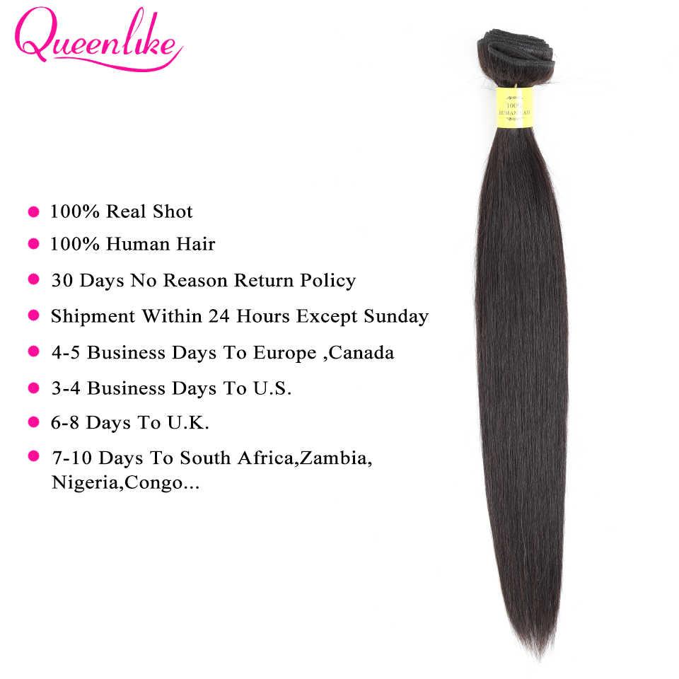 Queenlike Haar Producten 2 3 Bundels Braziliaanse Straight Hair Weave Bundels Met Sluiting Niet Remy 360 Kant Frontale Met Bundels