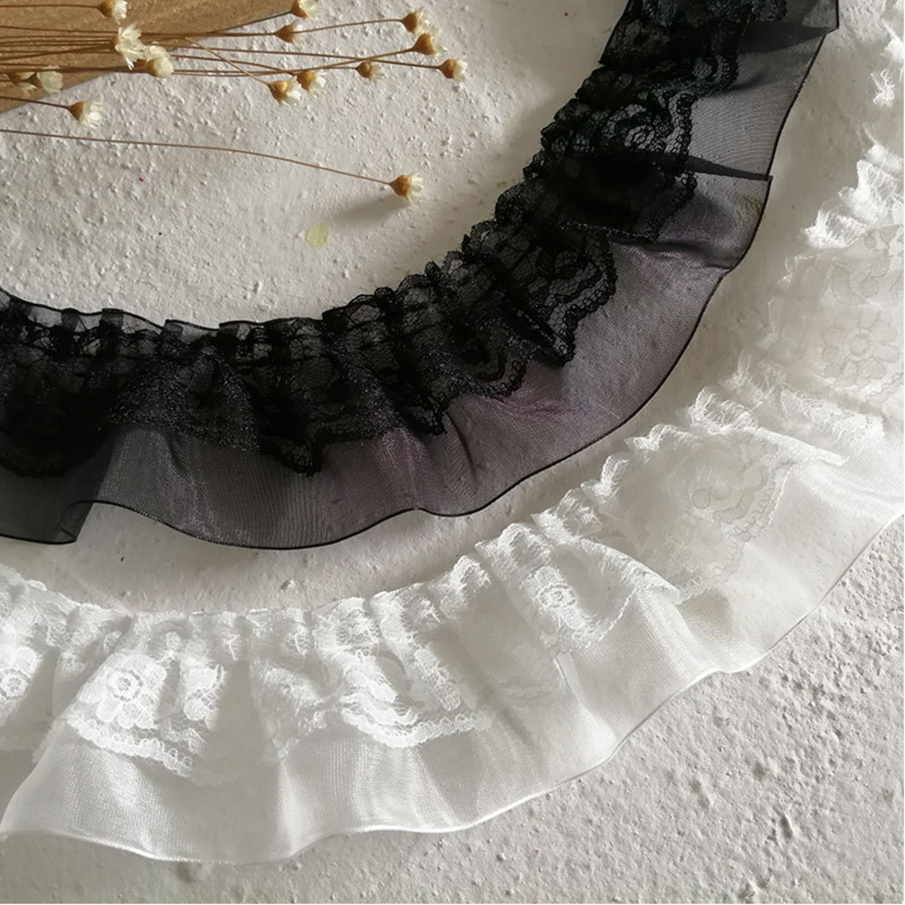 5CM Wide Exquisite White Lace Embroidery Ribbon Ruffle Collar Sewing Clothing Skirt Headwear Applique Decor DIY Sewing Applique