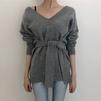 Sexy V Neck Lace Up Oversize Sweater Sashes Solid Irregular Hem Backless Sweater Korean Style Long Sleeve Knitted Sweater