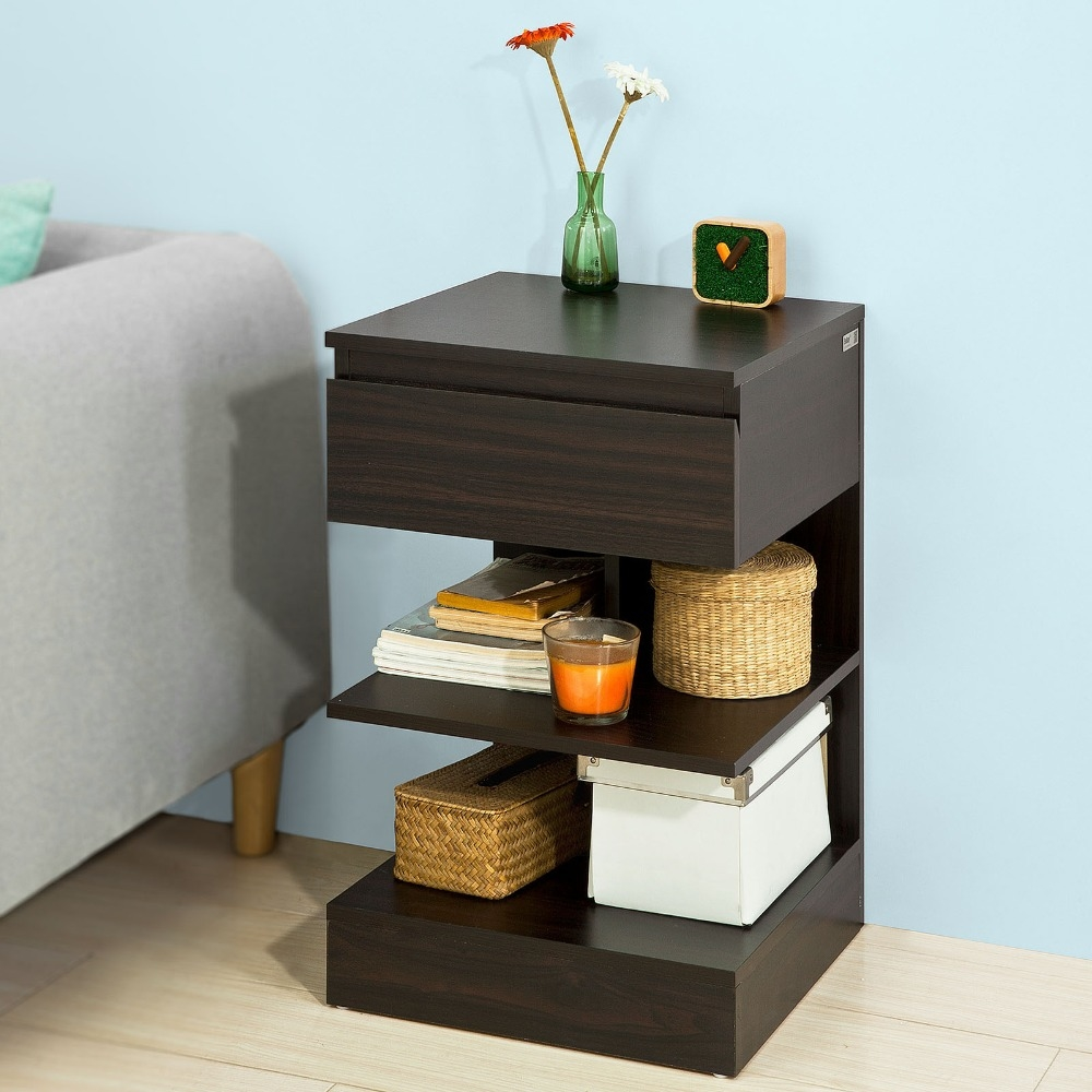 Sobuy Fbt49, Modern End Table Coffee Night Stand Bed Sofa Side Table With 1 Drawer And 2 Living Room Furniture