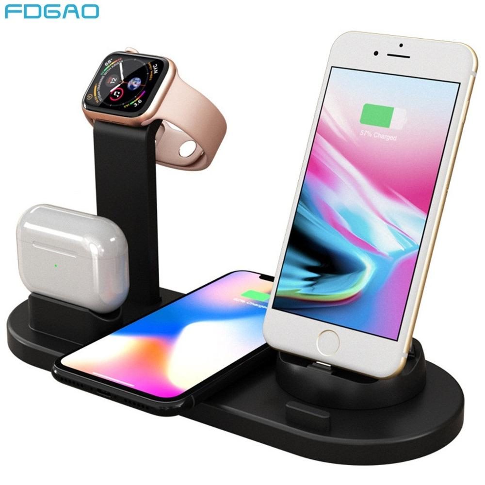 10w Qi Wireless Charger Dock Station 4 In 1 For Iphone Airpods Pro