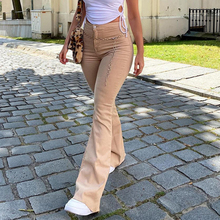 Flared Trousers Brown Jeans Women's Pants Classic Korean-Pocket Retro Fashion Stretch