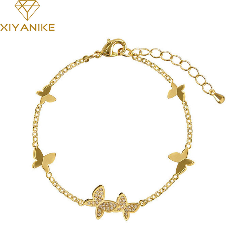 XIYANIKE Prevent Allergy 925 Sterling Silver Wedding Bracelet for Women Couples Classic Crystal Butterfly Hand Jewelry Gifts