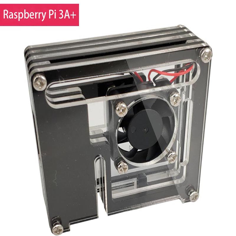 For Raspberry Pi 3 Model A+ Case Enclosure 9 Layer Acrylic Cover Shell With Cooling Fan For Raspberry Pi 3 A+ Case
