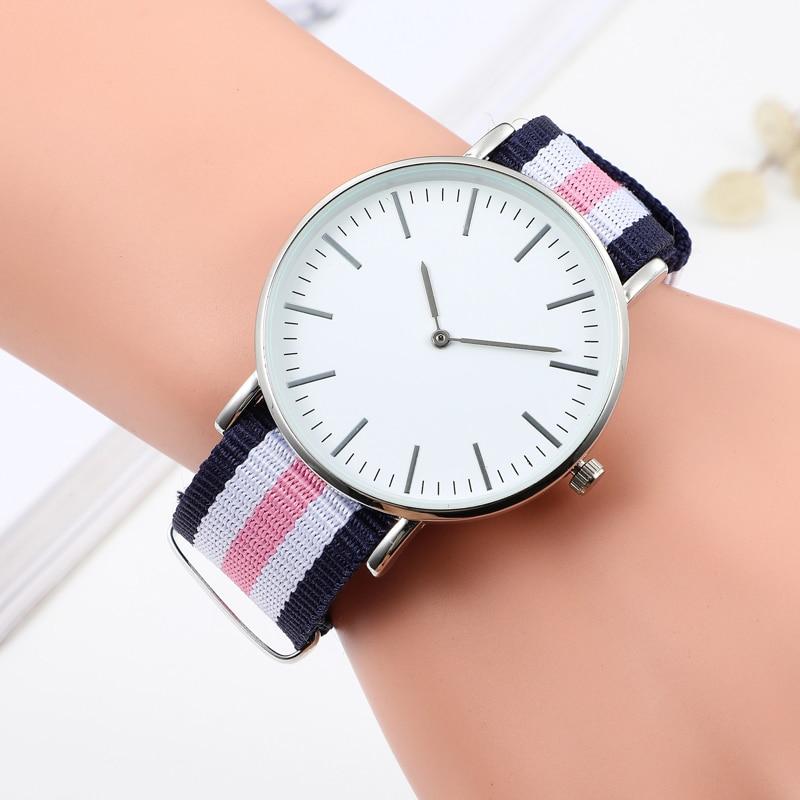 Luxury Watches For Women Stylish Nylon Belt Bracelet Unisex Simple Fashion Quartz Watch Gold   Wristwatch Clock Dress