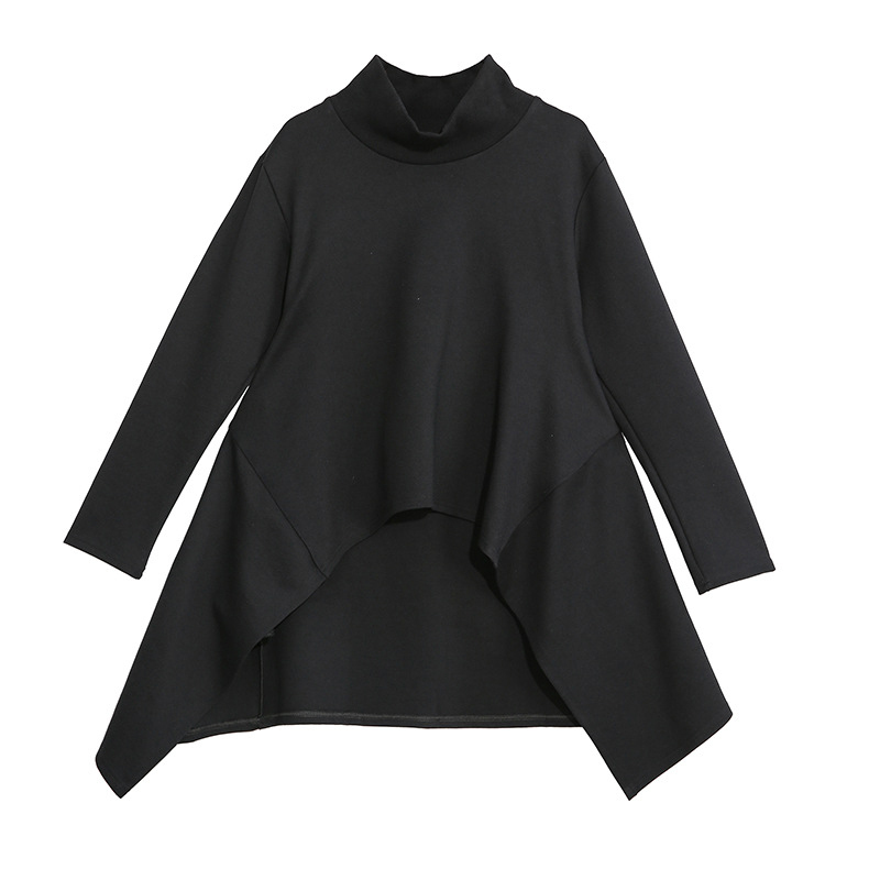 [EAM] Loose Fit Black Split Asymmetrical Sweatshirt New Turtleneck Long Sleeve Women Big Size Fashion Tide Spring 2020 1N482 7
